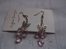 BRAND NEW>SILVER>PLATED>BUTTERFLIY>AND>BABY>PINK>DROPLETS>EARINGS>