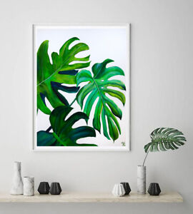 Monstera Leaves Watercolor Painting Print Tropical Palm Leaf Wall Art Ebay My very first memories of being consumed by art involved drawing tropical leaves in a jungle. details about monstera leaves watercolor painting print tropical palm leaf wall art