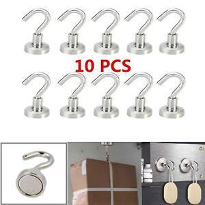 10x-Magnetique-Crochets-Neodyme-Tenir-Fer-Patere-Forte-Retenue-Puissant-Aimant