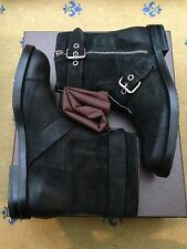 New Gucci Mens Shoes Black Suede Ankle Boots UK 12.5 US 13.5 46.5 Made in Italy