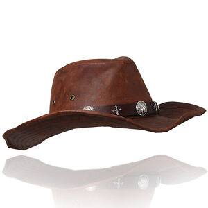Image is loading Fedora-Cowboy-hat-with-leather-band-concho-H20- 0b0ae403a37d