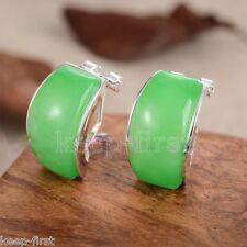 Women's Natural Green Jade 925 Sterling Silver Leverback Stud Earrings AAA