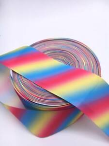 "1 2 3 Metre METRES Girls PASTEL Rainbow Stripe ombre 1/"" Grosgrain Ribbon 25 mm"