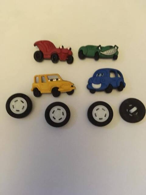 ROAD TRIP Funny Vintage Cars Face Wheels Tyres Man Boy Dress It Up Craft Buttons