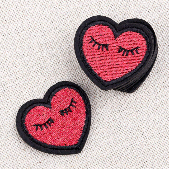 Lovely Heart Eyelashes Patches Sewing Iron On DIY