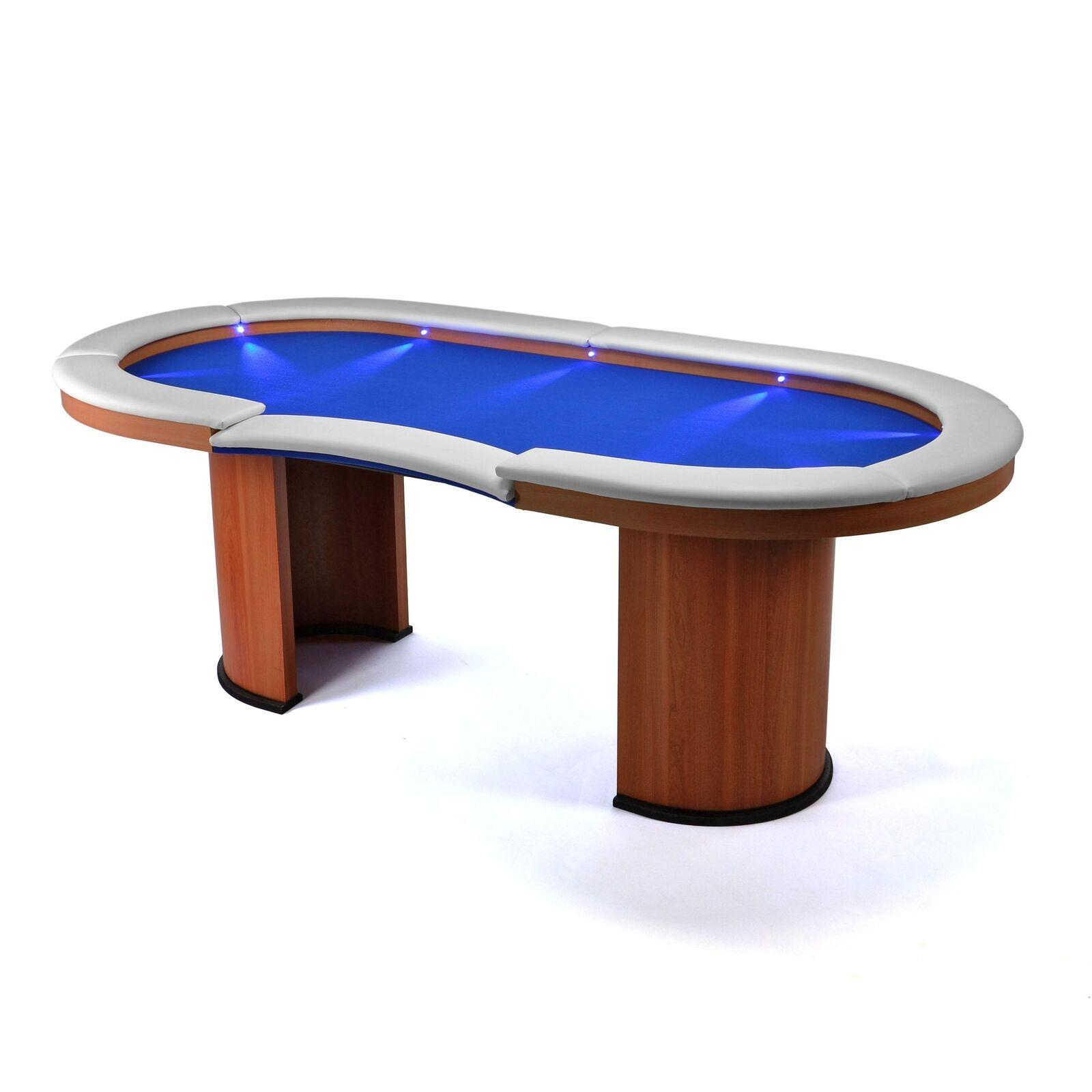 Beleuchteter Pokertisch massiv Casinotisch aus Holz 10 blaue LEDs für 10 Spieler