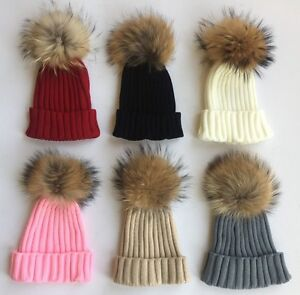 Image is loading Celebrity-POM-POM-Beanie-Hat-HUGE-Removeable-Racoon- bcd08610ce7
