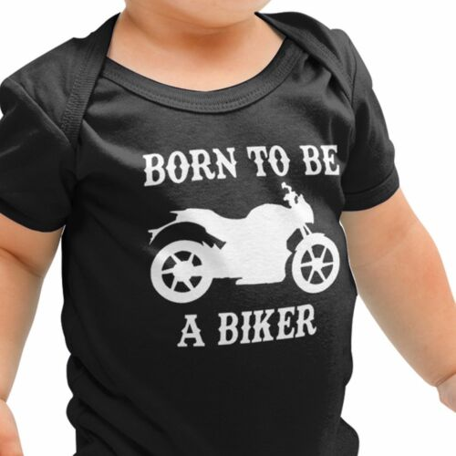 Born to be a BIKER Babygrow Motorbike Vintage Baby Grow Top Bike Motorcycle B4