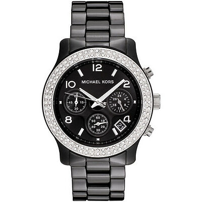 NEW MICHAEL KORS MK5190 BLACK CERAMIC RUNWAY WATCH - 2 YEAR WARRANTY
