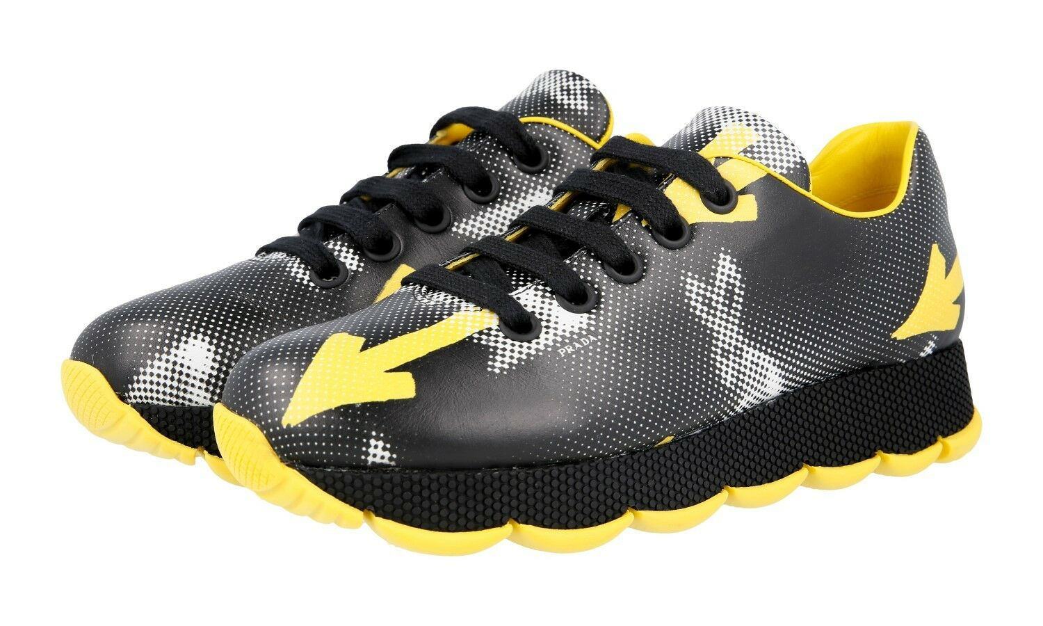AUTH LUXURY PRADA SNEAKERS SHOES 1E654G BLACK YELLOW NEW US 7 EU 37 37,5