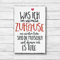Holz Deko Schild Dekoschild Holzschild Shabby Geschenk Druck ZUHAUSE 20 x 30cm