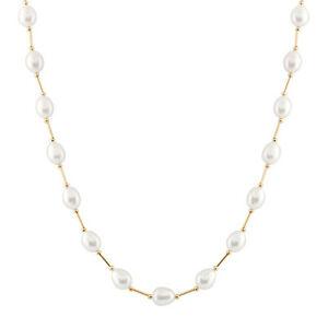 """Pearl tube necklace with 7-8mm white rice freshwater pearl, 17"""", 14k gold."""