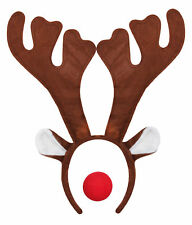 Item 2 REINDEER ANTLER HEADBAND AND RED NOSE RUDOLPH CHRISTMAS FANCY DRESS COSTUME XMAS