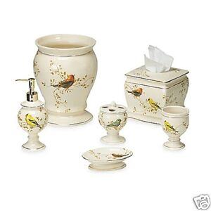 Avanti Linens Gilded Birds 6 Piece Ivory Ceramic Bath Accessory Set with Gold