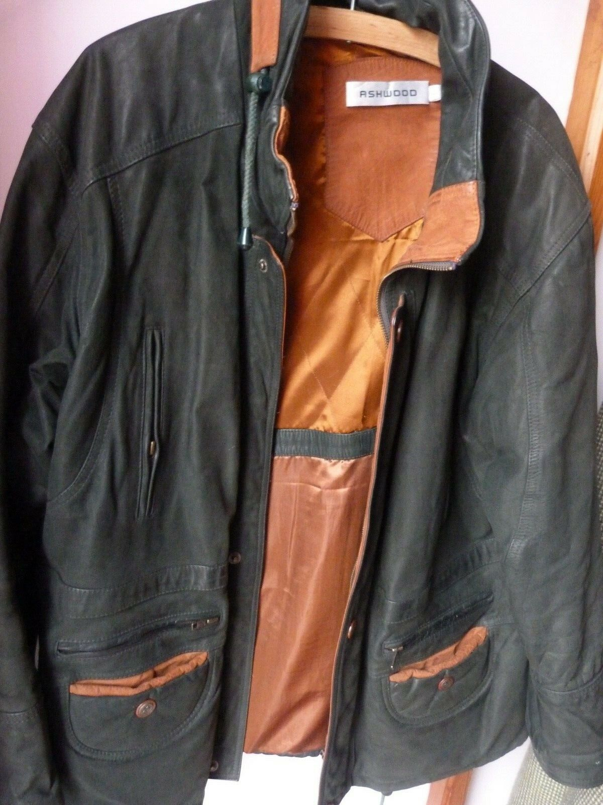 Ashwood leather men's coat size L approx 38 40 Bottle Green brown leather warm