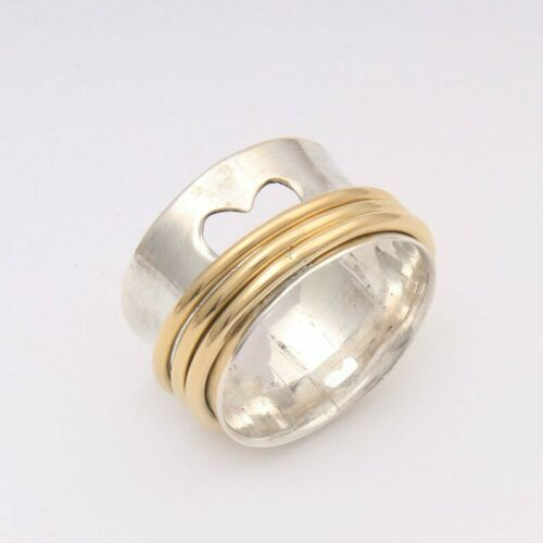 Solid 925 Sterling Silver Spinner Ring Meditation Ring Statement Ring Size st829