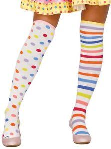 White Striped Socks Fancy Dress Clown Red