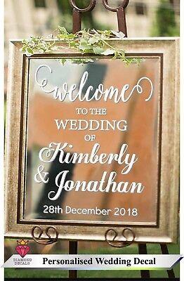 Personalise Wedding Sign Custom Venue Welcome Decor Notice Sticker Vinyl Decal 1