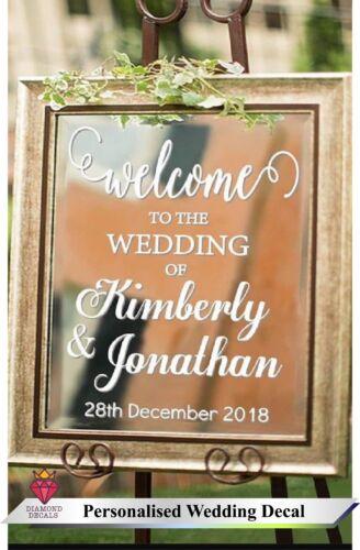 Personalised Wedding Frame Custom Venue Welcome Decor Mirror Vinyl Graphics