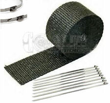 """Black LAVA EXHAUST PIPE HEAT WRAP 1"""" x 25' MOTORCYCLE HEADER INSULATION"""