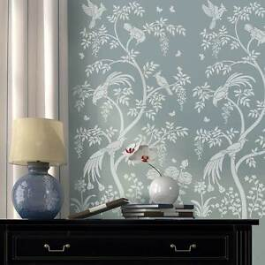 Birds and Berries Chinoiserie Wall Mural Stencil DIY Asian Garden