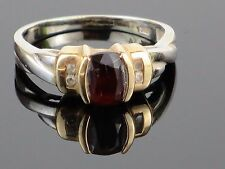 Vintage Rubellite and Diamond 10k White and Yellow Gold Ring, 3.7g, Size 7 3/4