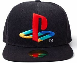 Image is loading Sony-Playstation-Logo-Embroidered-Denim-Snapback-Baseball- Cap 0f5991e6944c