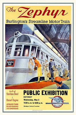 ZEPHYR BURLINGTON/'S STREAMLINE MOTOR TRAIN AMERICAN TRAVEL VINTAGE POSTER REPRO