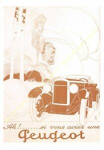 Sepia Postcard Ads Advertising Automobile Peugeot Edit 3615 PUB36