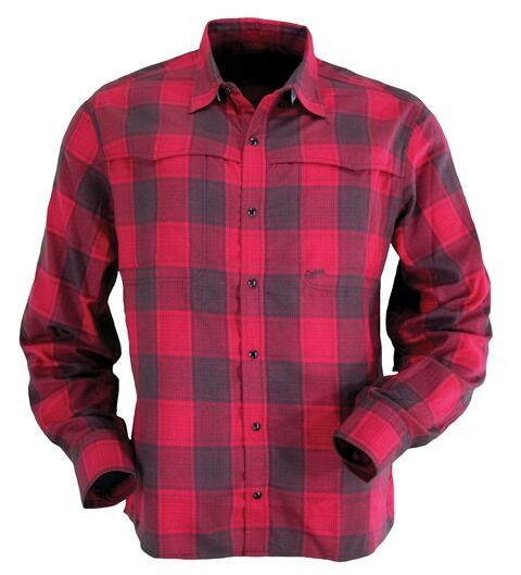 Mens RED Navin Plaid  Western Show Dress Flannel Shirt Snaps UV Predection  clearance up to 70%