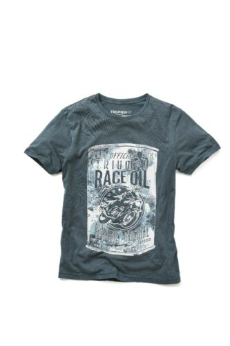 GENUINE TRIUMPH MOTORCYCLES PINFIELD T-SHIRT TRIUMPH RACE OIL LOGO T SHIRT BLUE