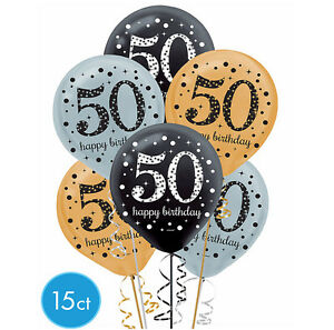 Image Is Loading Fiftieth 50th Birthday Sparkling Celebration Balloons Party Supplies