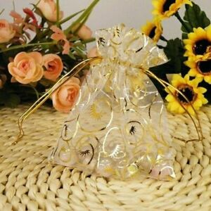 """25//50xGolden Drawstring Organza Pouches Wedding Gift Jewellery Candy Bags 4/""""x5/"""""""