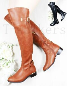 9ca89a39a0 Details about LADIES WOMEN STRETCH OVER KNEE BOOTS LOW FLAT HEEL HIGH WIDE  CALF FIT BOOTS SIZE