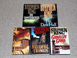 Stephen-King-Lot-of-5-1st-Edition-HC-DJ-Books-The-Dark-Half-Needful-Things-More