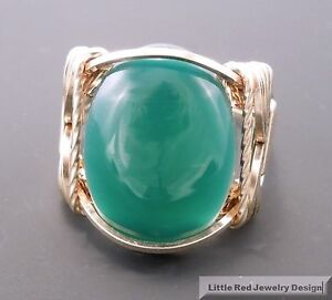 14 k Gold Filled Emerald Green Onyx Cabochon Wire Wrapped Ring