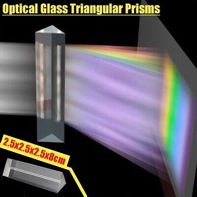 Optical Glass Triple Triangular Prism Physics Teaching Light Spectrum 8cm 3.15/'/'