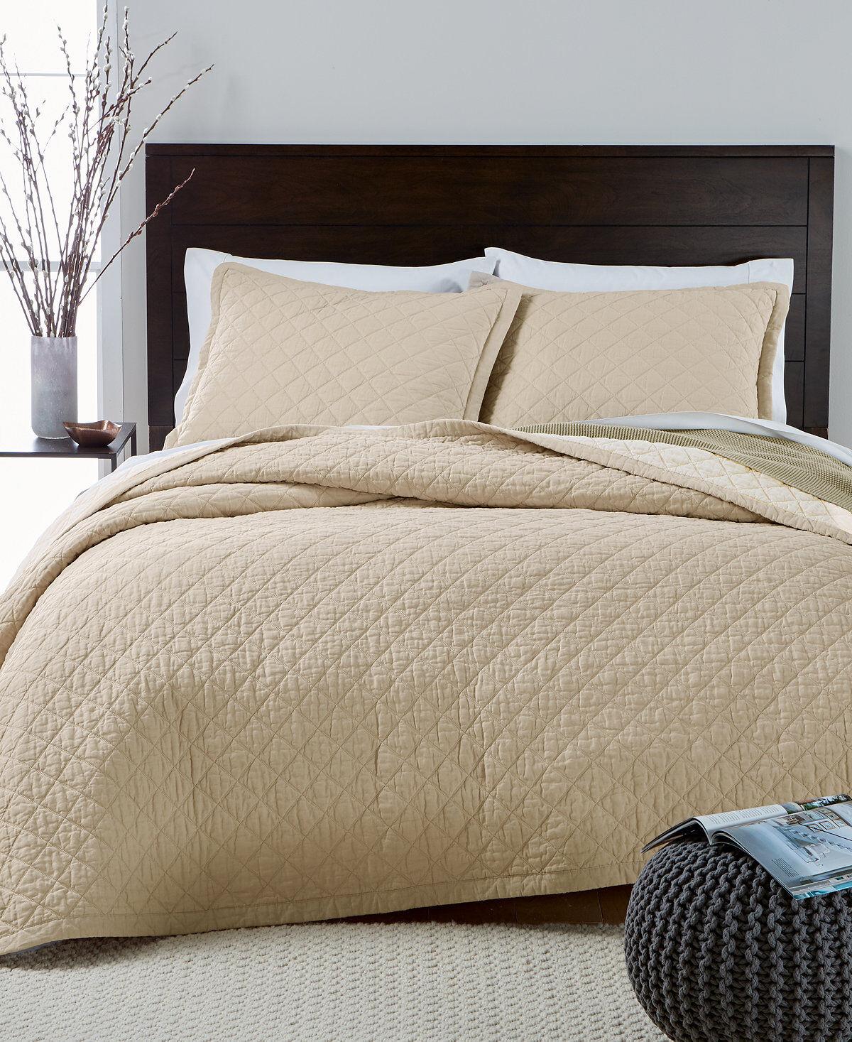 Martha Stewart Broadstitch Diamonds Linen Cotton FULL QUEEN Quilt TAN  200 I193