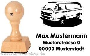 VW-Bus-T3-Transporter-Motiv-Holz-Stempel-mit-Wunschtext