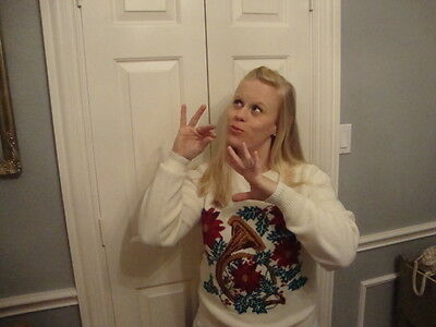 Ugly Tacky Christmas x mas Horn southern lady white Sweater M