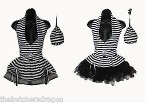 Womens-Black-amp-White-Convict-Prisoner-Girl-Halloween-Tutu-Fancy-Dress-Costume