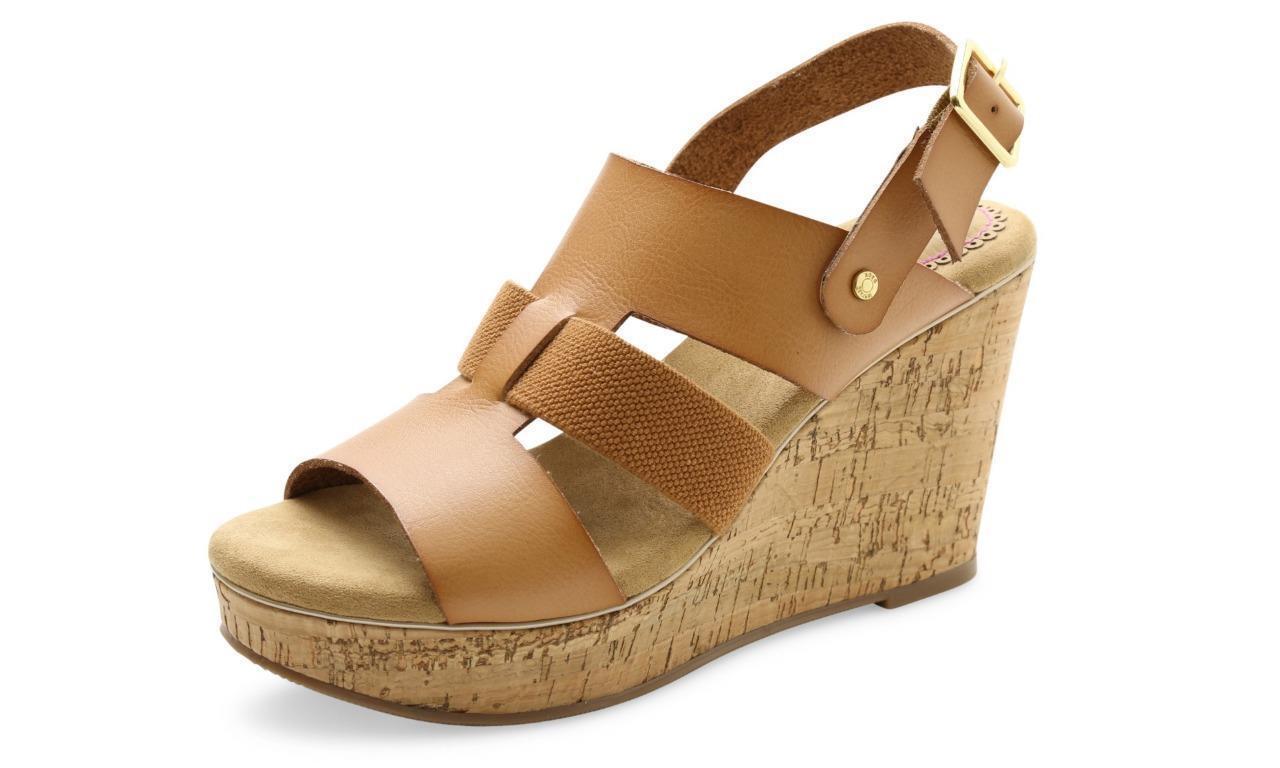 New Women's XOXO Beebee Tan Strappy Wedge Sandals XO161041