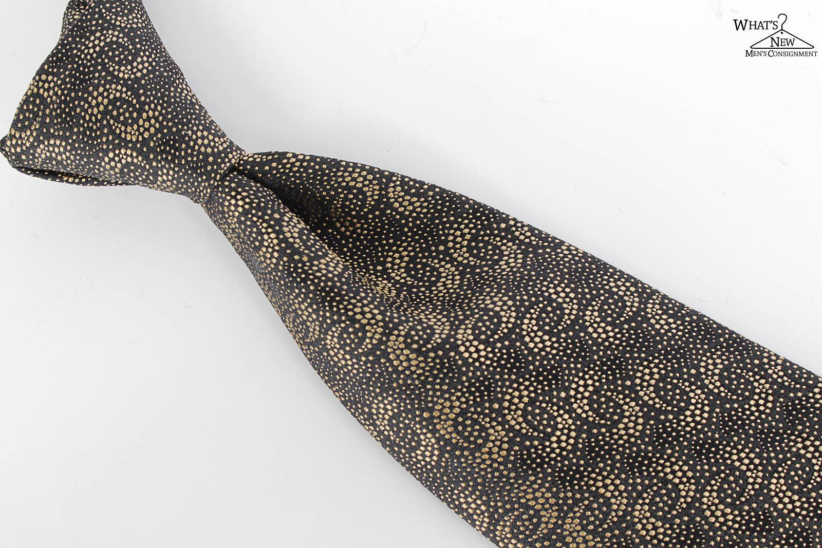 Neu Piombo Schwarz mit   Gold Design Nicht Gefüttert 8.3cm Breit Seidenkrawatte    Billiger als der Preis