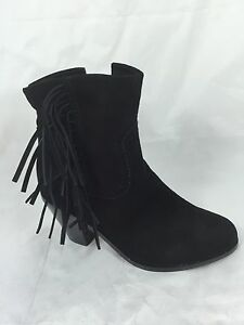 7020a46dfdc3c7 Image is loading Sam-Edelman-Louie-Fringe-Ankle-Bootie-Girls-Black-