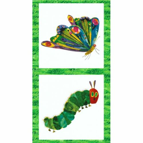 100/% Cotton Fabric Makower The Very Hungry Caterpillar Panel Butterfly