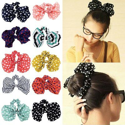 Korean Cute Kawaii Big Rabbit Ear Bow Headband Ponytail Holder Hair Tie Bands