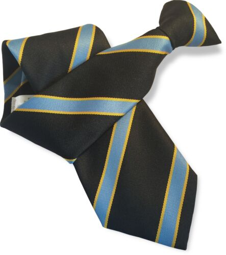 British Woven Mens Striped Clip On Clipper Safety  Security Ties  Satin and Repp
