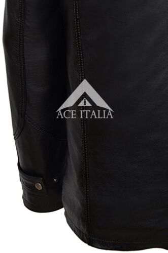 Uomo nero Inverno classico sulla strada Caldo Vera Morbida Pelle Stile Biker Jacket 2675