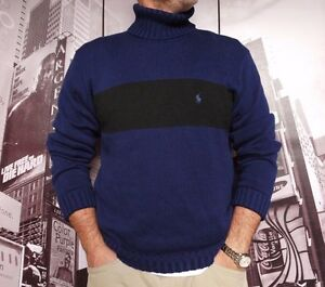 New Polo Size Navy Men's Sweater Ralph Black L Lauren Turtleneck VpGLqUMjSz