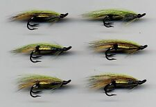 Salmon Flies: Double Hook Hairwing Green Highlander x 6 sizes 6 (code 225)